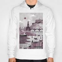 edinburgh Hoodies featuring Edinburgh Travel Poster Illustration by ClaireIllustrations