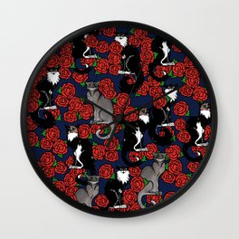 Cats and Roses Le Chat Noir Calico Wall Clock