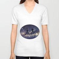 running V-neck T-shirts featuring Running by Cs025