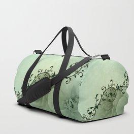 Elegant, decorative floral design in soft green colors Duffle Bag