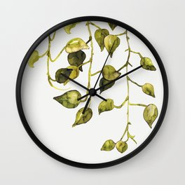 Golden Pothos - Botanical ink painting Wall Clock