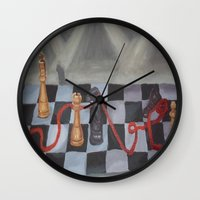 chess Wall Clocks featuring Chess by Lark Nouveau Studio