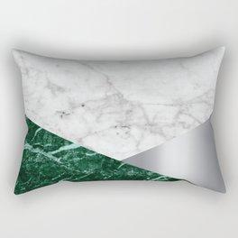 White Marble Green Granite & Silver #999 Rectangular Pillow