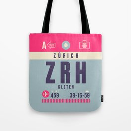 Retro Airline Luggage Tag - ZRH Zurich Switzerland Tote Bag
