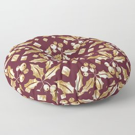 Christmas pattern.Gold sprigs on a dark Burgundy background. Floor Pillow
