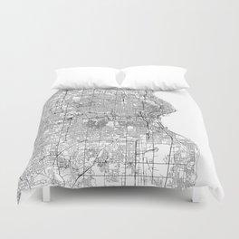 Milwaukee White Map Duvet Cover