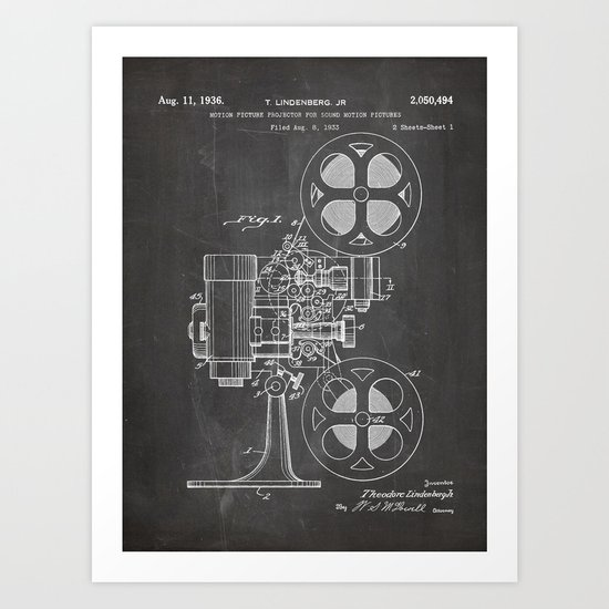 Film Projector Patent - Cinema Art - Black Chalkboard by patentpress