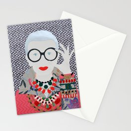 Iris Apfel printed reproduction of an original papercraft illustration Stationery Cards