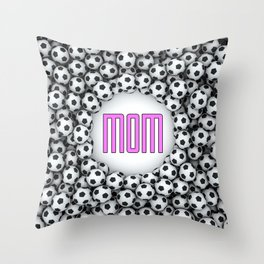 Soccer Mom / 3D render of hundreds of soccer balls framing Mom text Throw Pillow