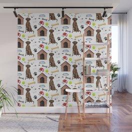 Labrador Retriever Brown Half Drop Repeat Pattern Wall Mural