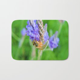 Bee on a Blue Verbena Hastata Bath Mat