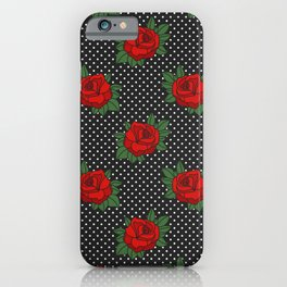 Rockabilly style roses on white polka dots pattern iPhone Case