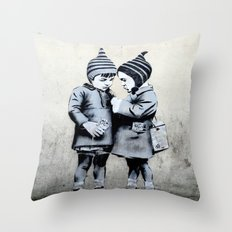Street Art Kids JPS Stencil Throw Pillow