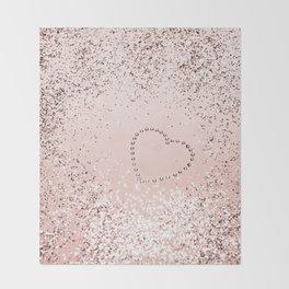 Sparkling ROSE GOLD Lady Glitter Heart #5 #decor #art #society6 Throw Blanket