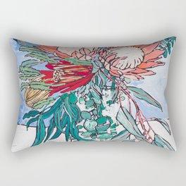 Painterly Vase of Proteas, Wattles, Banksias and Eucayptus on Blue Rectangular Pillow