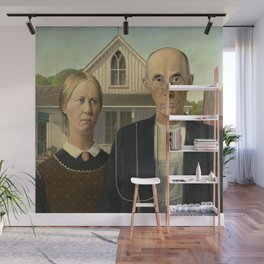American Gothic Oil Painting by Grant Wood Wall Mural