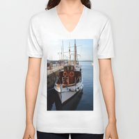 oslo V-neck T-shirts featuring Classic Boats In Oslo by Malcolm Snook