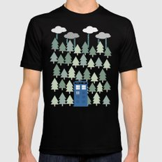 TARDIS lands in the Pacific Northwest Pine Tree Forest - Oregon, Washington, Portland, PDX, Seattle MEDIUM Mens Fitted Tee Black