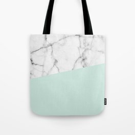 Real White marble Half pastel Mint Green Tote Bag