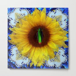 EMERALD GOLD BUG ON SUNFLOWER BUTTERFLY Metal Print