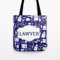 lawyer Tote Bags featuring Blue Lawyer by Be Raza