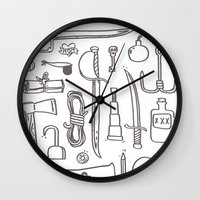 kit king Wall Clocks featuring Pirate's Kit by cotey bucket