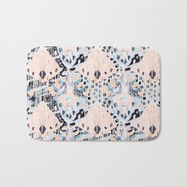 watercolor IKAT collage, mixed media, pastel pattern, pink, indigo, grey, black, sky blue Bath Mat