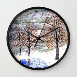 Snow Grey Skies over Moon Lake in Dewdrop Holler Wall Clock