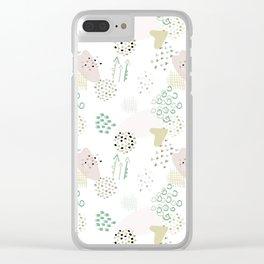 Textural Khaki love Clear iPhone Case