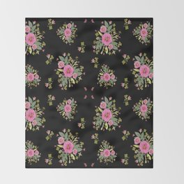 Pink Rose Bouquets Throw Blanket