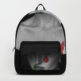 Woman portrait red green Backpack