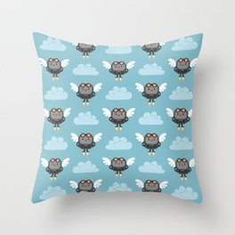 Cute flying robots Throw Pillow