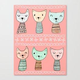 Kokeshi Kitties Canvas Print