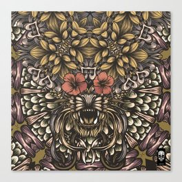 Tiger and flowers Canvas Print