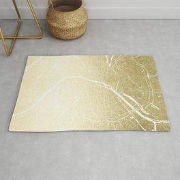 Paris France Minimal Street Map - Gold Foil Glitter Rug