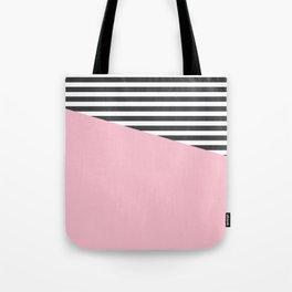 Pink & Gray Stripes Tote Bag