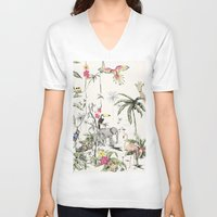 jungle V-neck T-shirts featuring Jungle by Annet Weelink Design