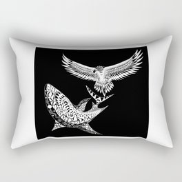 The shark and the eagle back in black Rectangular Pillow
