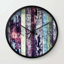 Vintage Reclaimed Wood Boards With Peeling Paint Wall Clock