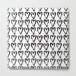 Black & White-Love Heart Pattern-Mix & Match with Simplicty of life Metal Print