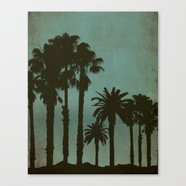 West Coast Nights - Palm Trees Silhouettes at Night Canvas Print