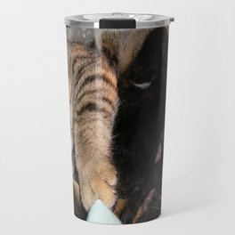 Mother Tabby Cat Suckling Four Newborn Kittens Travel Mug