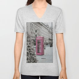 Pink Telephone Booth in the Snow Unisex V-Neck