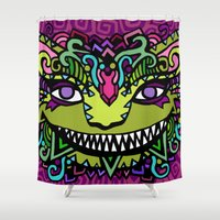cheshire cat Shower Curtains featuring CHESHIRE by AZZURRO ARTS