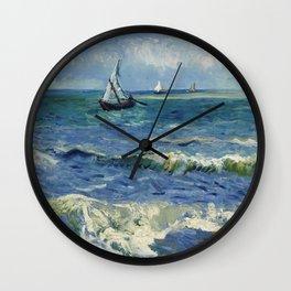 Vincent Van Gogh - Seascape at Saintes-Maries, 1888 Wall Clock