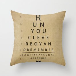 Run You Clever Boy - Doctor Who Inspired Vintage Eye Chart Throw Pillow