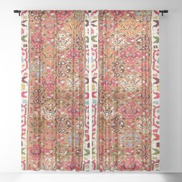 Garahgozloo Hamadan West Persian Long Rug Print Sheer Curtain