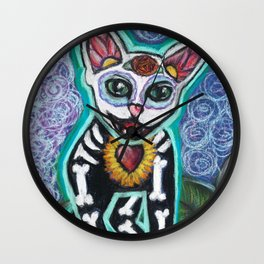 Turquoise Day of the Dead Cat Wall Clock