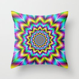 Yellow Blue and Violet Star Throw Pillow