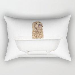 Labradoodle in a Vintage Bathtub Rectangular Pillow